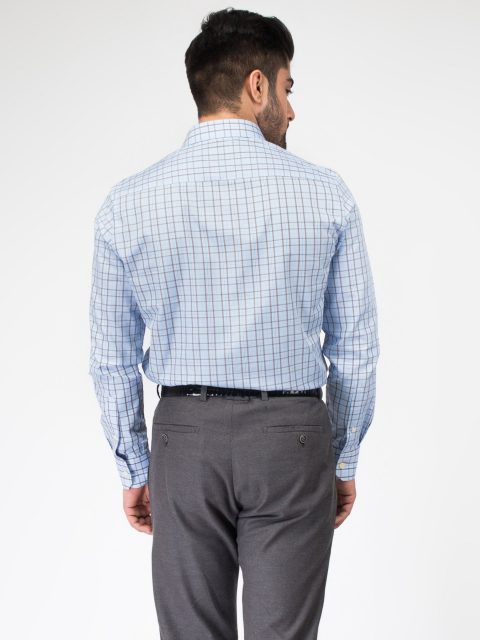 Blue & Brown Formal Check Shirt