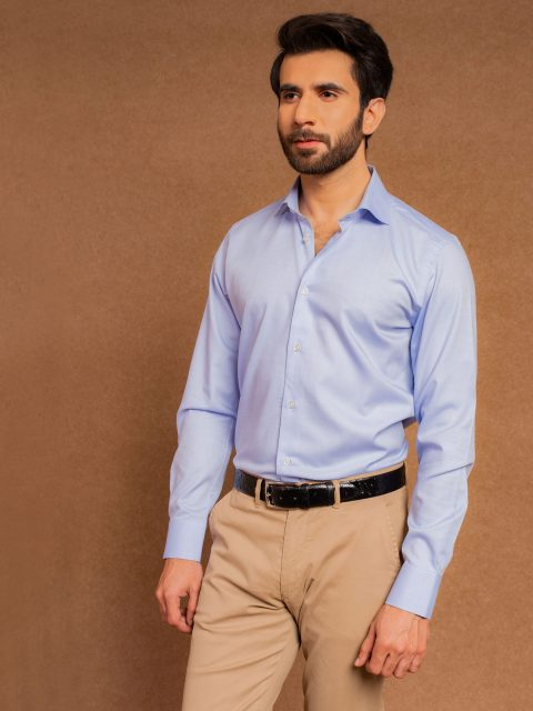 Blue Formal Shirt With Cutaway Collar