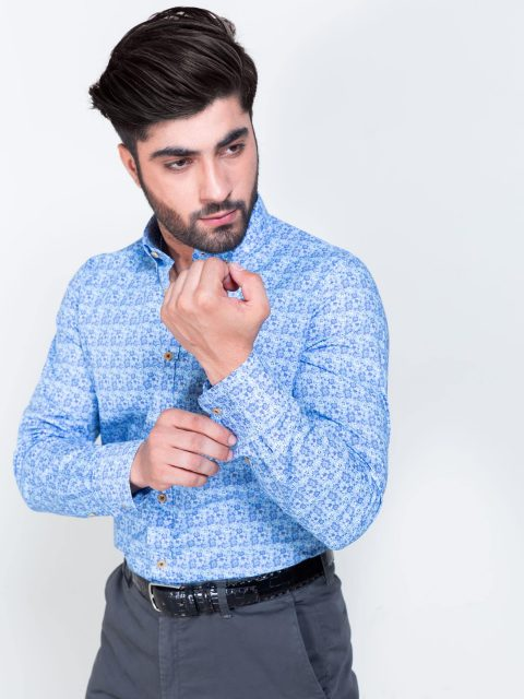 Blue Small Floral Printed Shirt
