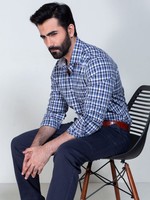 Multi Blue Color Check Shirt With Inner Detailing