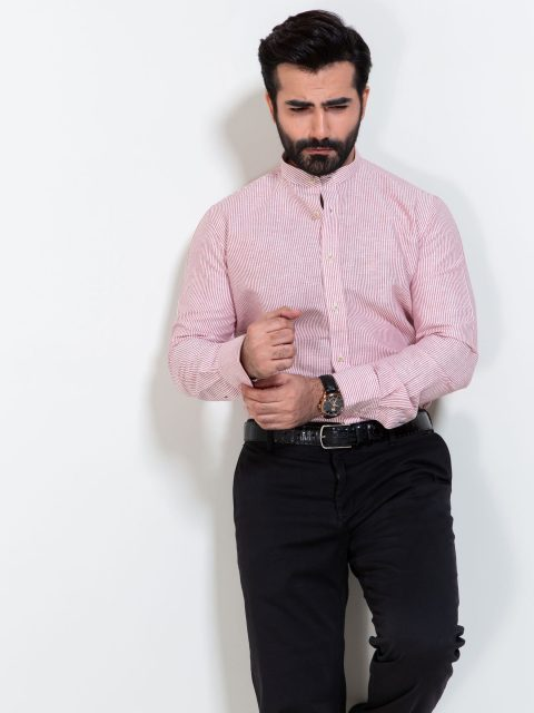 Red Linen Striped Shirt With Mao Collar
