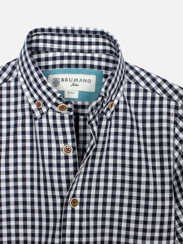 Black Gingham Casual Half Sleeve Shirt