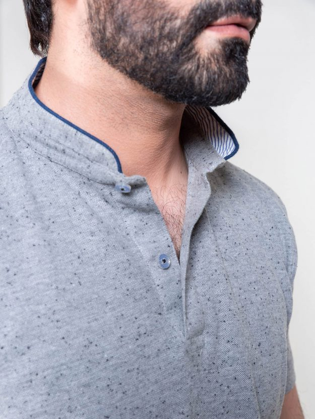 Grey Mao Collar Polo Shirt