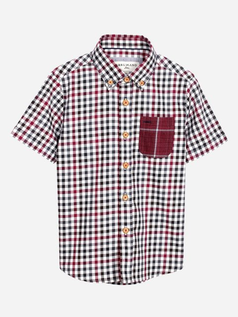 Red & Beige Casual Check Half Sleeve Shirt