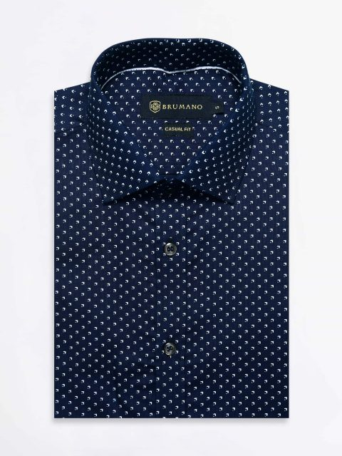 Navy Structured Printed Shirt