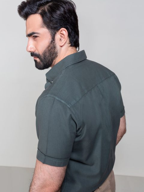 Olive Garment Dyed Half Sleeve Shirt