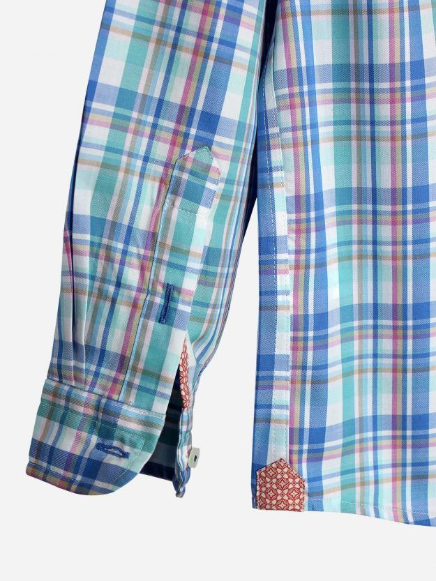 Turquoise Multi Color Casual Check Shirt