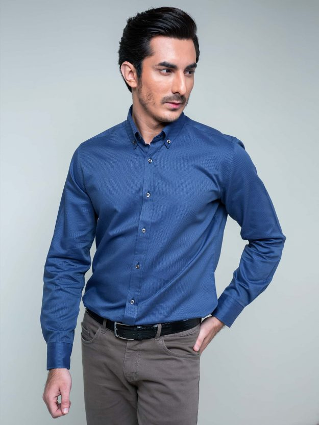 Blue Dobby Structured Button Down Shirt Brumano