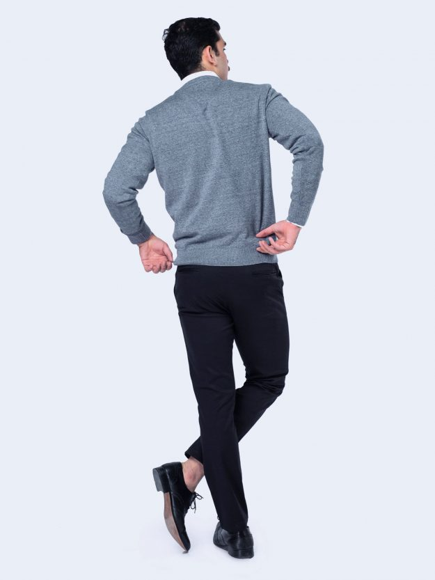 Anthracite Blue Full Sleeve V-Neck Sweater Brumano Pakistan