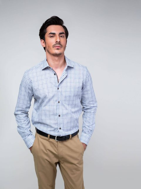 Grey Checkered Formal Shirt Brumano Pakistan