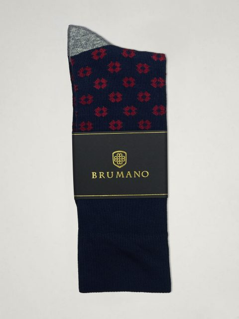 Navy & Maroon Flower Cut Cotton Socks Brumano Pakistan