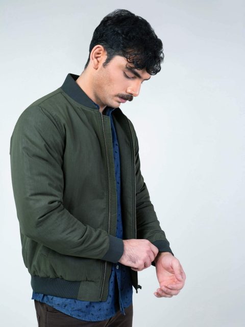 Olive Green Quilted Bomber Jacket