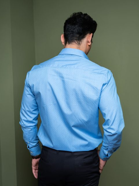Blue Micro Structured Formal Shirt