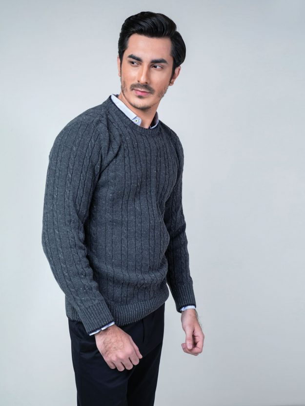 Charcoal Cable Knit Crew Neck Sweater Brumano Pakistan