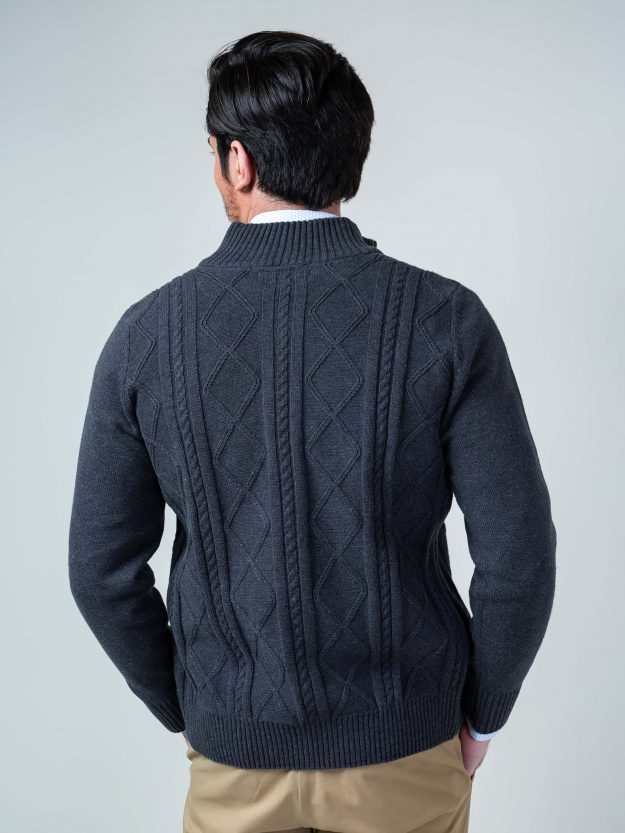 Charcoal Cable Knitted Zipper Brumano Pakistan
