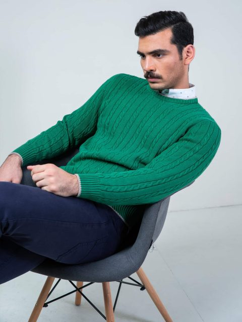 Green Cable Knit Crew Neck Sweater Brumano Pakistan