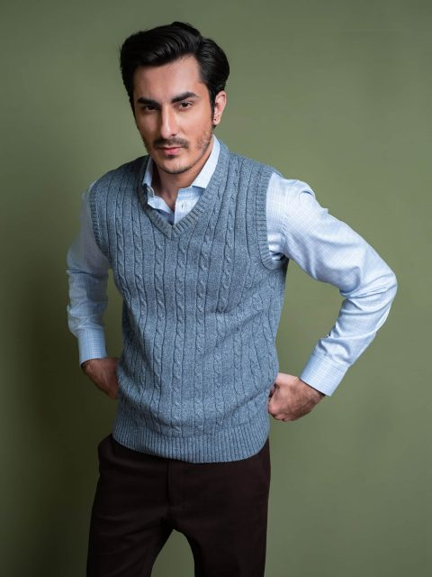 Anthracite Blue Sleeveless Cable Knitted Sweater Brumano Pakistan