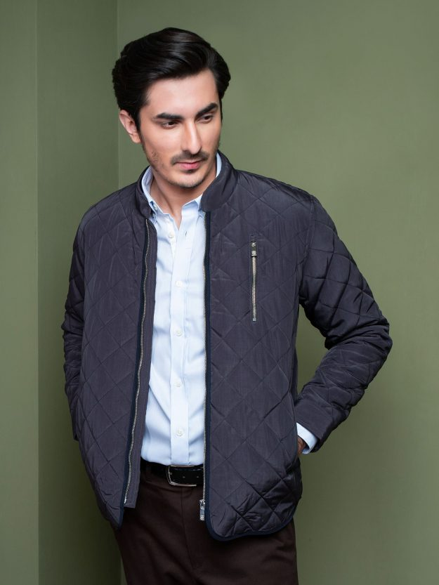 Grey Quilted Padded Jacket Brumano Pakistan