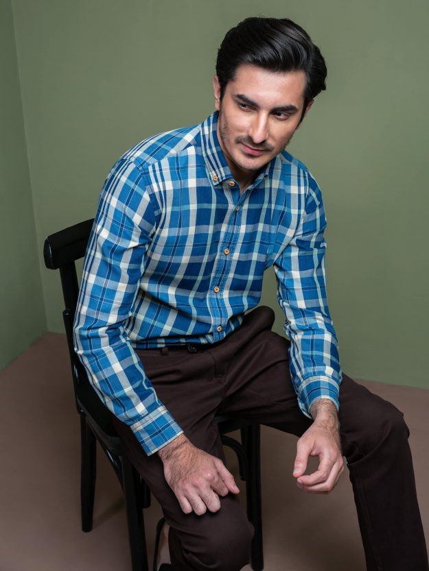 Indigo Dyed Multi Checkered Shirt Brumano Pakistan