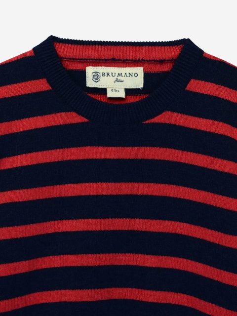 Red & Blue Striped Crew Neck Sweater
