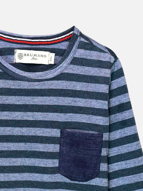 Blue Striped Full Sleeve T-Shirt With Contrasting Pocket