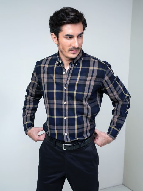Indigo Dyed Large Checkered Shirt Brumano Pakistan