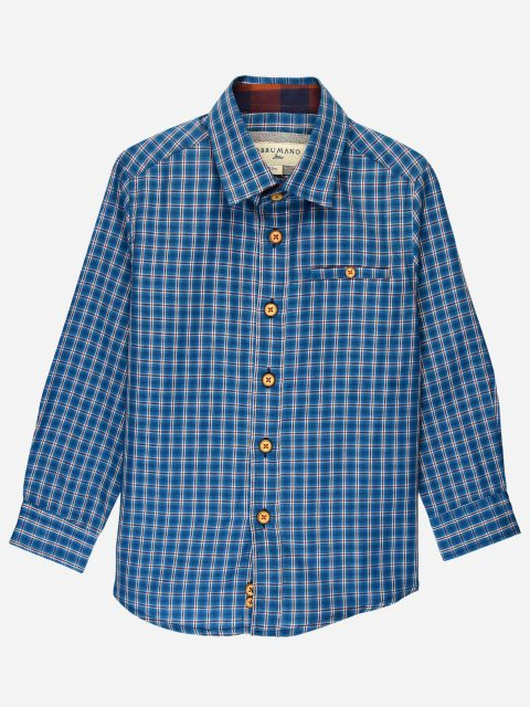 Teal Blue Casual Check Shirt Brumano Pakistan