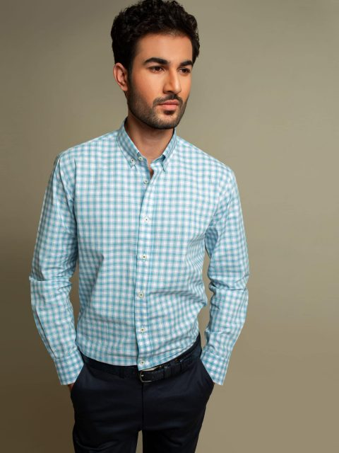 Blue & Green Melange Gingham Shirt Brumano Pakistan