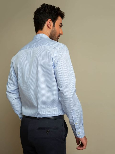 Blue Micro Gingham Shirt With Detailing