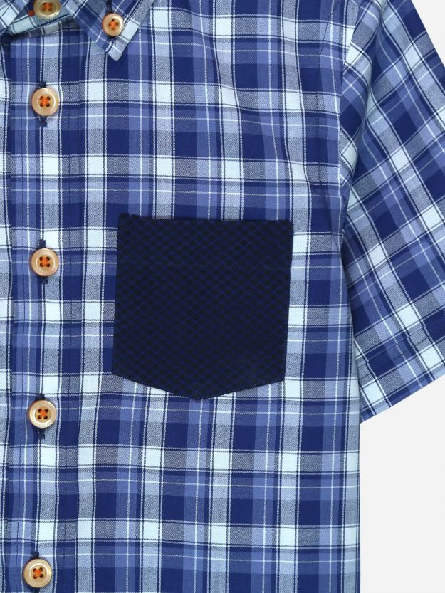 Blue Casual Half Sleeve Shirt With Detailing Brumano Pakistan