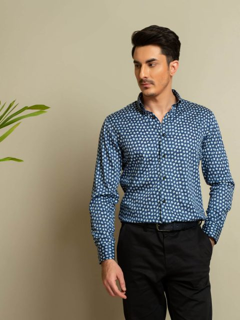 Navy & Yellow Floral Printed Shirt Brumano Pakistan