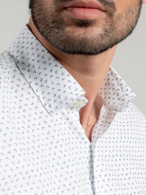 White Printed Shirt With Inside Button Collar