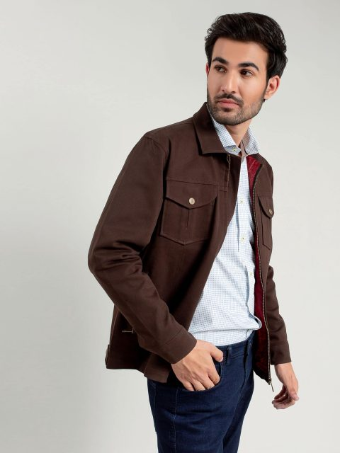 Dark Brown Casual Jacket Brumano Pakistan