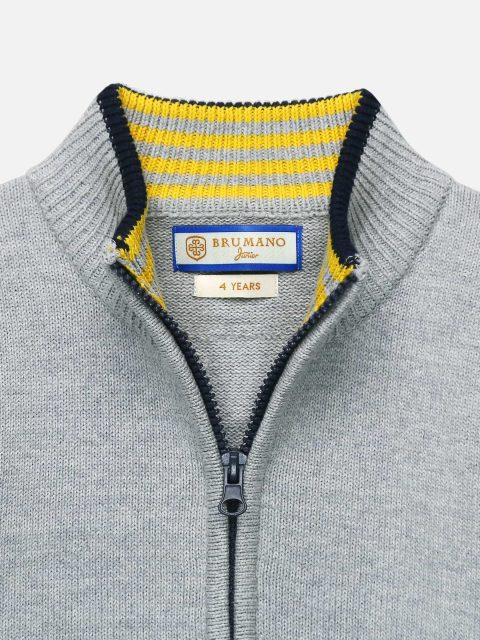 Grey Casual Zipper With Detailing