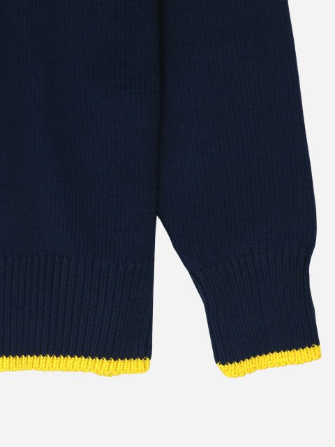 Navy Casual Zipper With Detailing