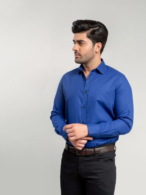 Royal Blue Dobby Structured Formal Shirt Brumano Pakistan