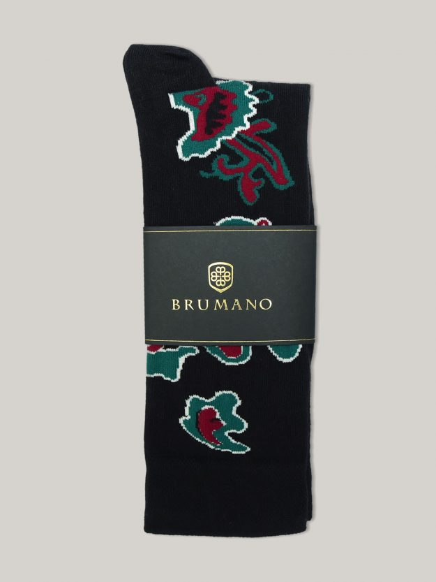 Black Paisley Patterned Cotton Socks Brumano Pakistan