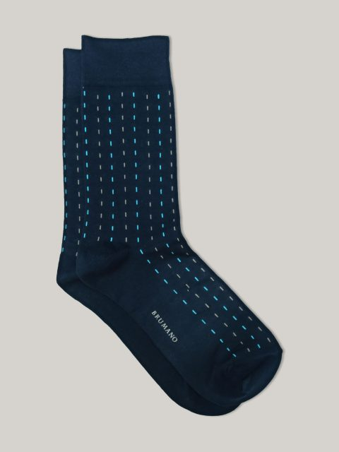 Navy Blue Jacquard Knit Cotton Socks