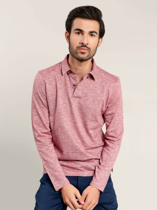 Pink Mercerized Full Sleeves Polo Shirt Brumano Pakistan