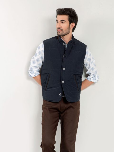 Navy Blue Quilted Sleeveless Vest With Leather Detailing Brumano Pakistan