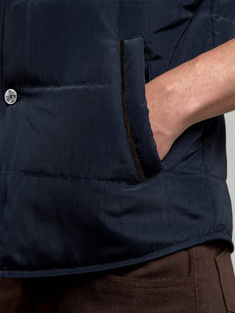 Navy Blue Quilted Sleeveless Vest With Leather Detailing