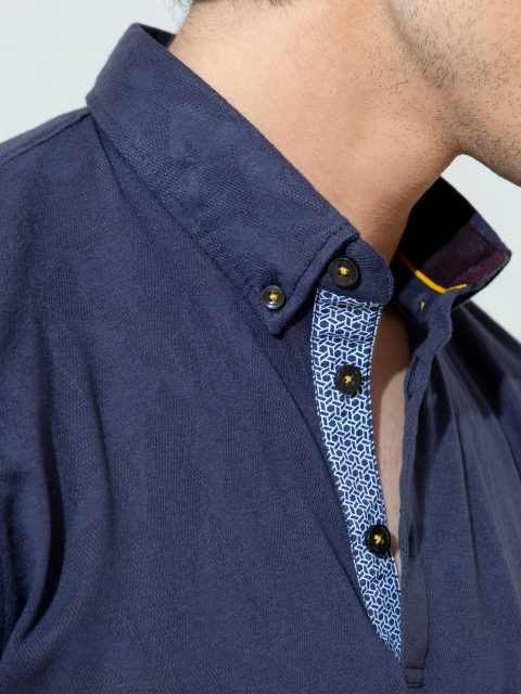 Navy Blue Jacquard Polo Shirt With Detailing