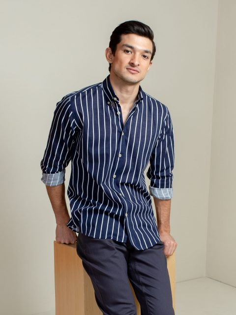 Navy Blue Striped Button Down Shirt Brumano Pakistan
