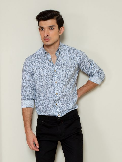 Blue Abstract Printed Shirt Brumano Pakistan