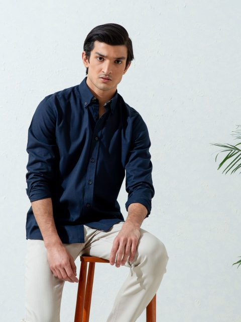 Navy Blue Slub Textured Shirt With Detailing Brumano Pakistan