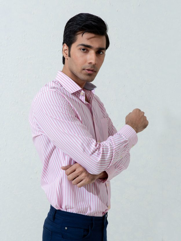 Pink Bengal Striped Shirt Brumano Pakistan