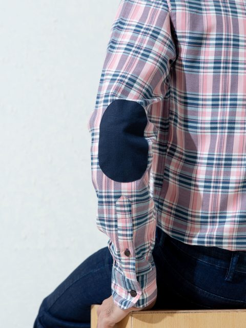 Pink & Navy Checkered Flannel Shirt With Elbow Patch