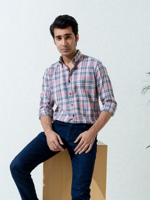 Pink & Navy Checkered Flannel Shirt With Elbow Patch Brumano Pakistan