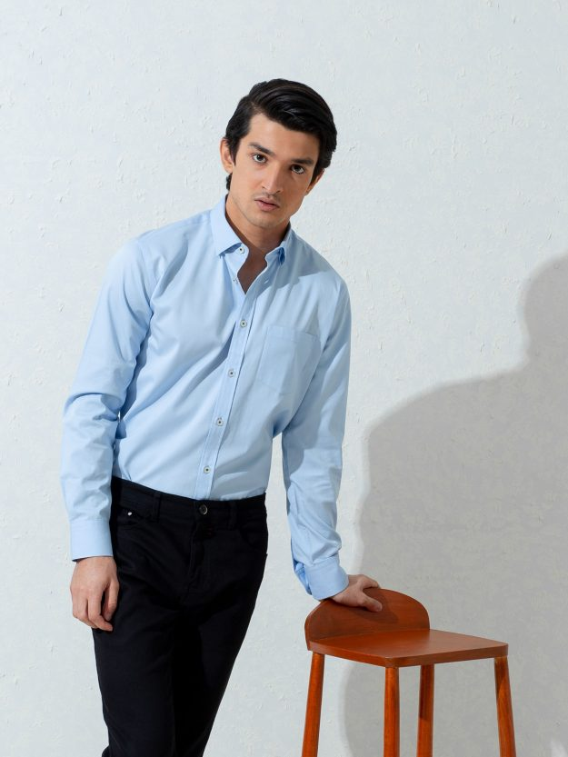Blue Twill Shirt With Structured Elbow Patch Brumano Pakistan
